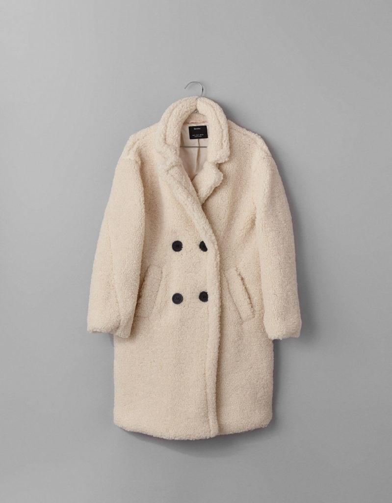 Εκρού σταυρωτό παλτό-Bershka