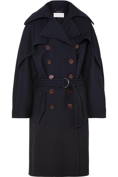 Μπλε σταυρωτό παλτό με ζώνη και λεπτομέρεια στους ώμους-Chloe