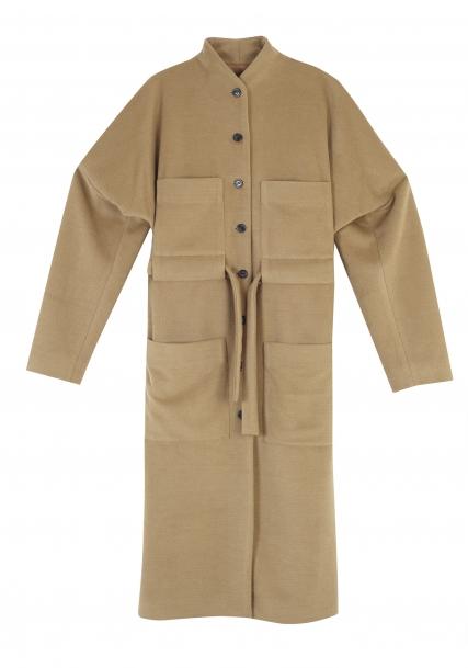 Μπεζ παλτό με ζώνη και τέσσερις τσέπες-Yesymphony by Yiorgos Eleftheriadis
