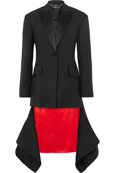 Μαύρο σταυρωτό παλτό με τελείωμα από κρόσσια με κόκκινη φάσα-Alexander McQueen
