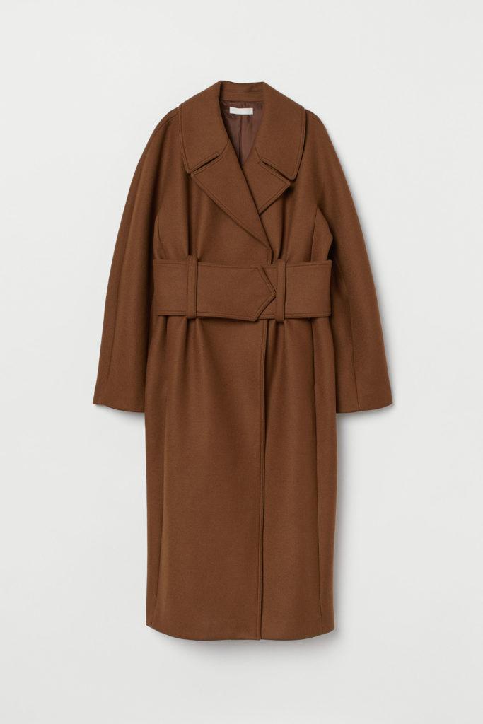 Καφέ παλτό με φαρδιά ζώνη-Η&Μ