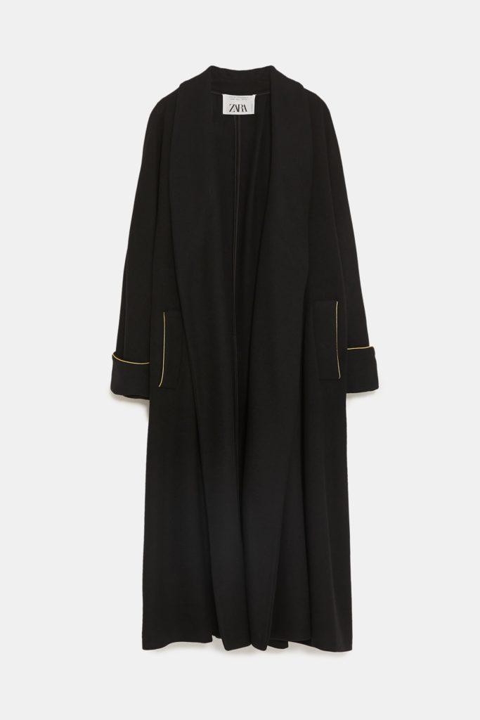 Μαύρο φαρδύ παλτό-Zara